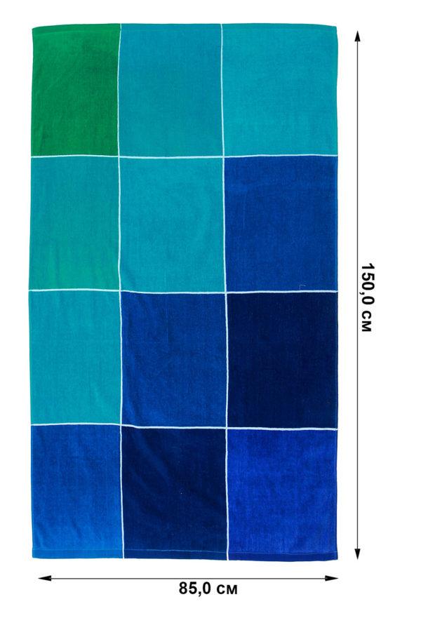 Полотенце Махровое в клетку в морских тонах