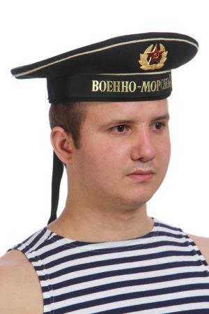 """Бескозырка черная уставная с лентой на выбор: """"Военно-морской, Тихоокеанский, Балтийский, Черноморский,Северный флот"""