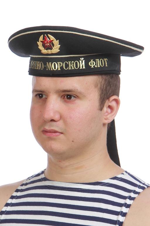 """Купить новую черную бескозырку (со склада) образца 1988 года с лентой """"Черноморский флот"""" или """"Военно-морской флот"""""""