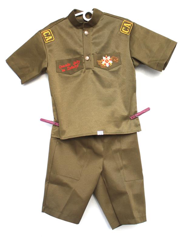 """Детский военный костюм солдата с вышивкой """"Спасибо деду за победу"""" и вышитым Орденом Отечественной войны"""