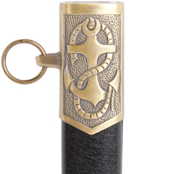 Сувенирный морской кортик с белой ручкой фрагмент с якорем