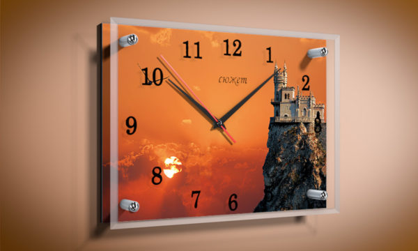 Часы Ласточкино гнездо Закат 25*35 см