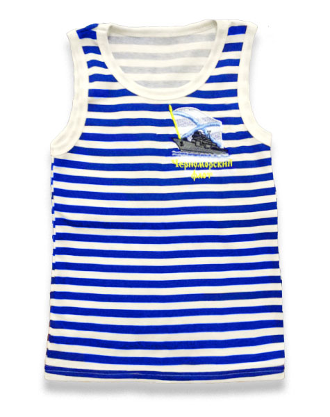 Майка-тельняшка детская х/б Лето кулирка темно-синяя полоса Черноморский флот, корабль и Андреевский флаг