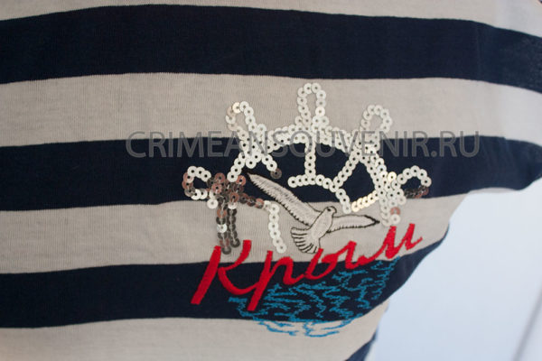Туника женская в широкую полоску надписью Крым и штурвалом, белой чайкой