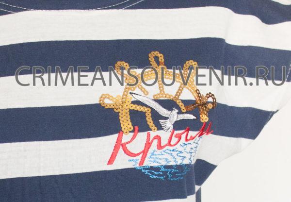 Эмблема. Золотистый штурвал. Туника женская в широкую полоску надписью Крым и штурвалом, белой чайкой