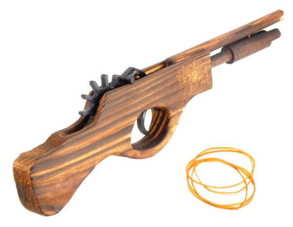 Игрушка-пистолет Пистоль XIX века. из дерева - резинкострел
