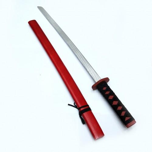 Игрушка меч-катана в ножнах из дерева красная (длинная)