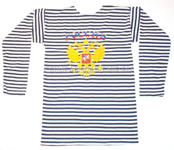 Тельняшка двойной вязки (темно-синяя полоса) с гербом России, двуглавым орлом