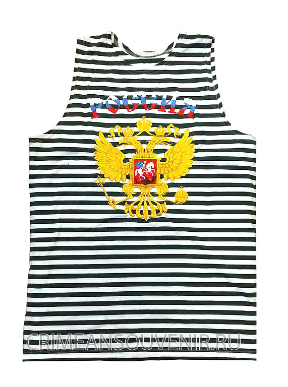 Майка-тельняшка ш.пл с гербом России, двуглавым орлом (кулирка темно-синяя полоса)